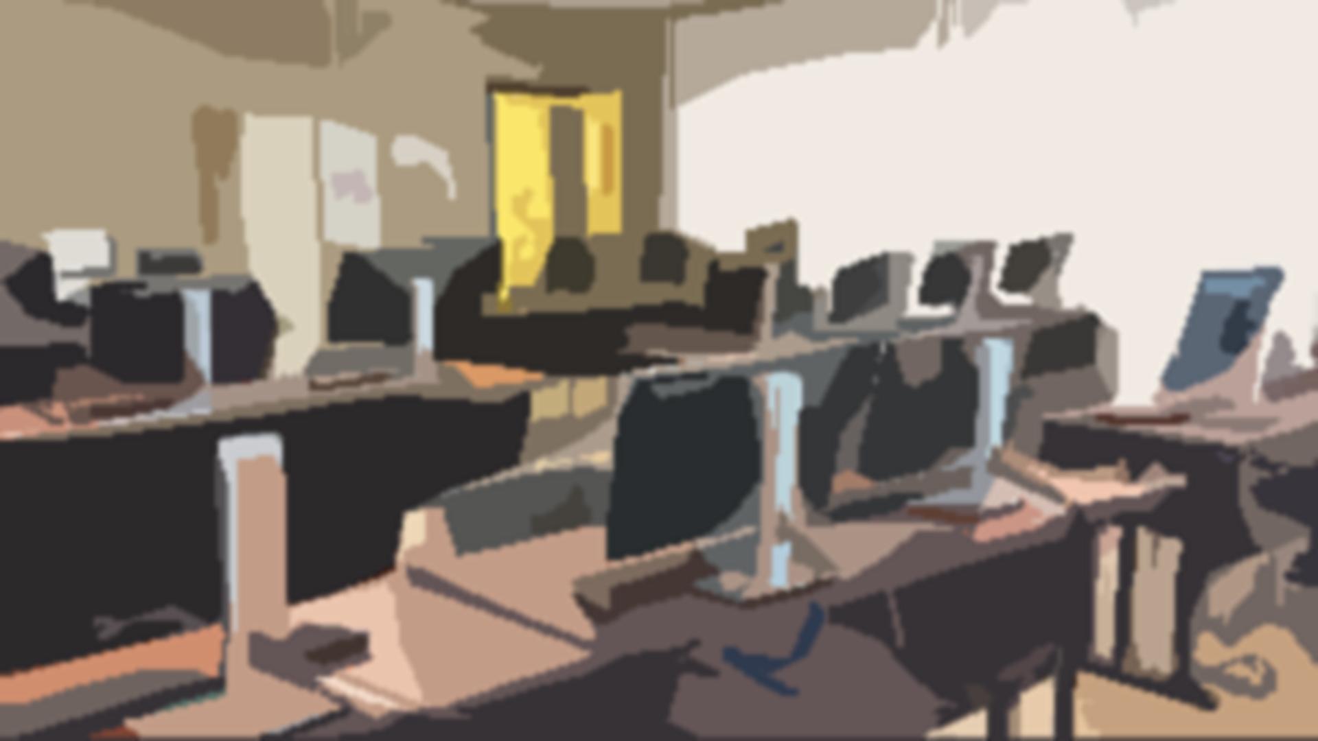 Salle d'ordinateurs au collège Lionel-Groulx
