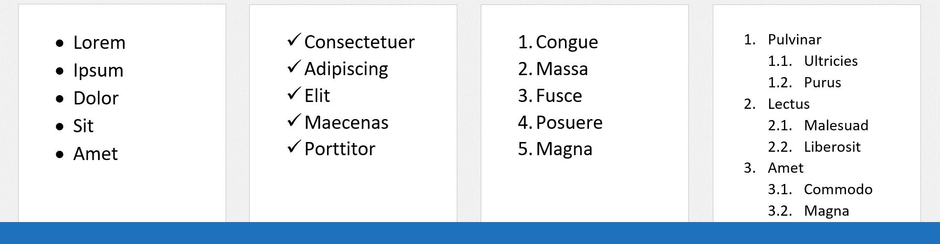 Listes à puces et numérotées